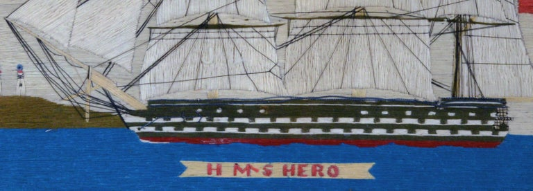 Sailor's Woolwork Picture of HMS Hero, circa 1760-1764 In Good Condition For Sale In Downingtown, PA