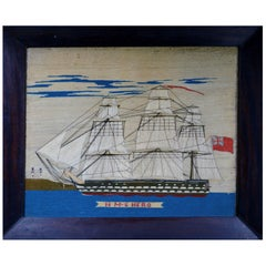 Sailor's Woolwork Picture of HMS Hero, circa 1760-1764