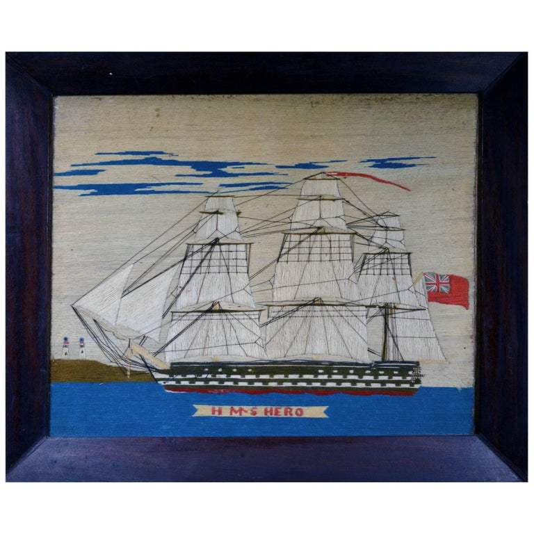 Sailor's Woolwork Picture of HMS Hero, circa 1760-1764 For Sale