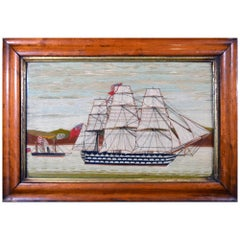 Sailor's Woolwork Picture of Two Royal Navy Ships including a First Rate
