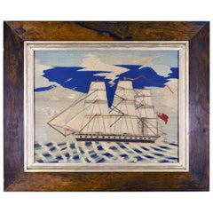 Sailor's Woolwork Woolie of a Royal Navy Frigate, circa 1870-1880