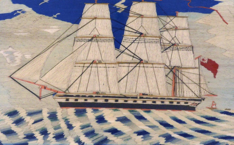 Folk Art Sailor's Woolwork Woolie of a Royal Navy Frigate, circa 1870-1880 For Sale