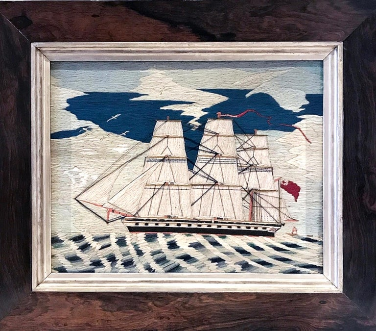 Sailor's Woolwork Woolie of a Royal Navy Frigate, circa 1870-1880 In Good Condition For Sale In Downingtown, PA
