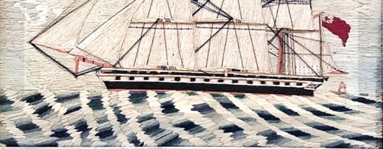Sailor's Woolwork Woolie of a Royal Navy Frigate, circa 1870-1880 For Sale 1