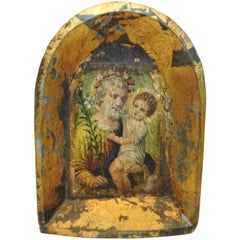 Saint and Baby on Hand Carved Wooden Frame
