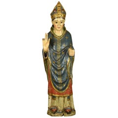 Saint Blaise, Carved, Polychrome and Gilded Wood, Castilian School, 14th Century
