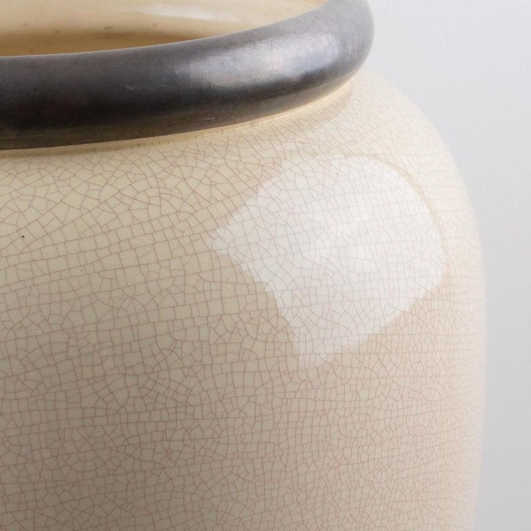 Faience Saint Clement Art Deco Crackle Glaze Ceramic Vase Umbrella Stand For Sale