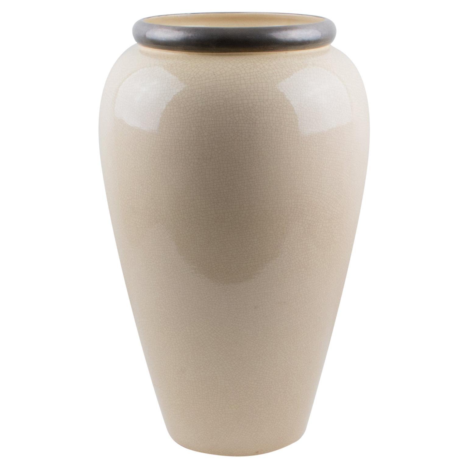 Saint Clement Art Deco Crackle Glaze Ceramic Vase Umbrella Stand