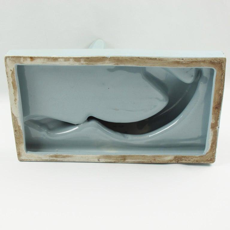 Saint Clement Art Deco Cubist Crackle Blue Ceramic Seal Sculpture For Sale 2