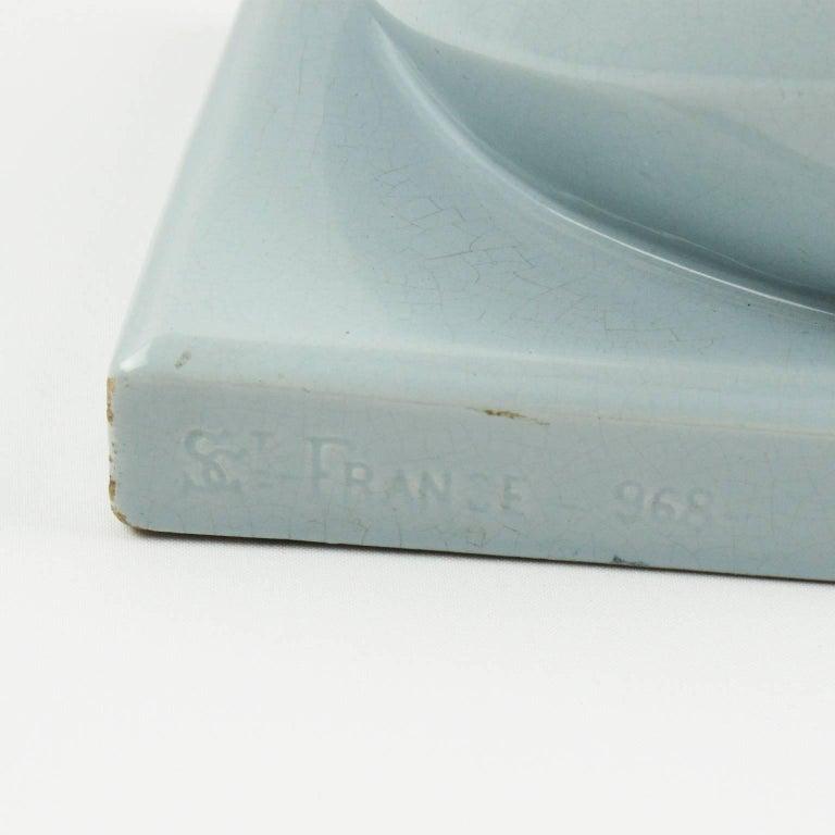 Mid-20th Century Saint Clement Art Deco Cubist Crackle Glaze Blue Ceramic Seal Sculpture For Sale