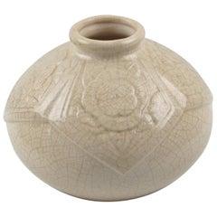Saint Clement France 1930s Art Deco Crackle Glaze Ceramic Vase
