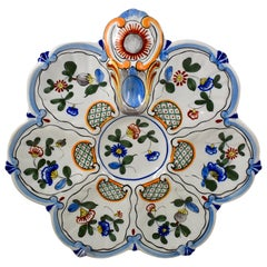 Saint Clément French Faïence Blue Rim on White Floral Oyster Plate, 19th Century