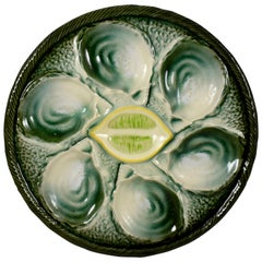 Saint Clément French Faïence Majolica Shell and Yellow Lemon Oyster Plate