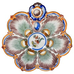 Saint Clément French Faïence Orange Rim White Floral Oyster Plate, 19th Century