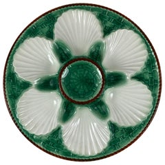 Saint Clément French Green Basketweave and Brown Rope Bordered Oyster Plate