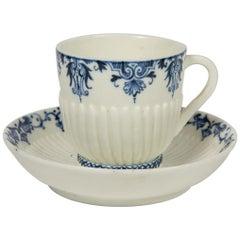 Saint-Cloud Blue and White Soft-Paste Porcelain Cup & Saucer France 18th Century