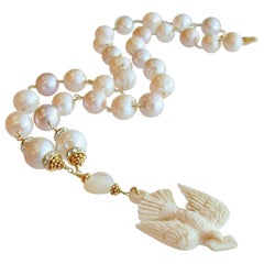 Saint Esprit Dove with Love Note Natural Pink Peach Baroque Cultured Pearls