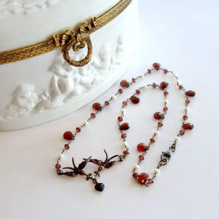 Artisan Saint Esprit Victorian Style Garnet Doves Necklace For Sale