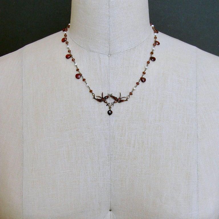 Saint Esprit Victorian Style Garnet Doves Necklace In New Condition For Sale In Scottsdale, AZ