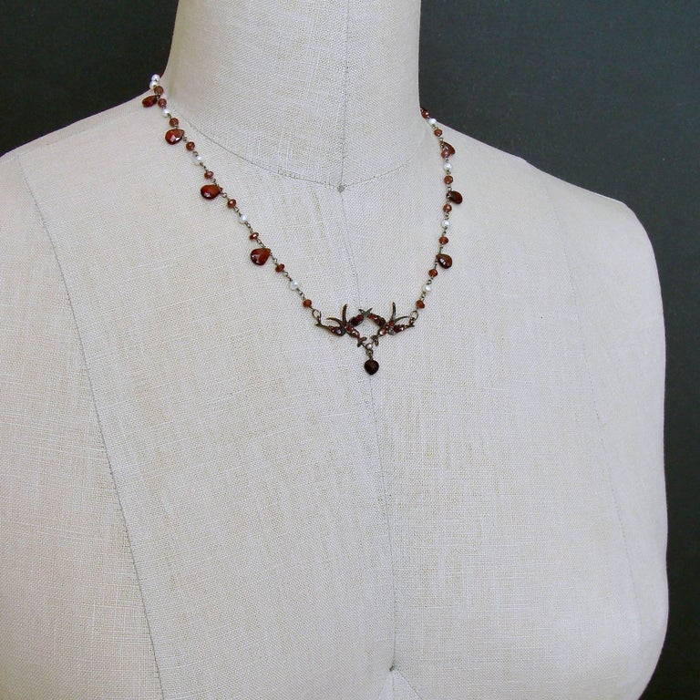 Women's Saint Esprit Victorian Style Garnet Doves Necklace For Sale