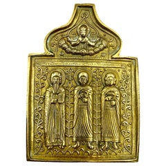 Saint Florus Saint Lavros Saint Antipas Fine Antique Russian Bronze Travel Icon
