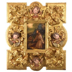Saint Francis Oil on Copper with Important Frame, 17th Century