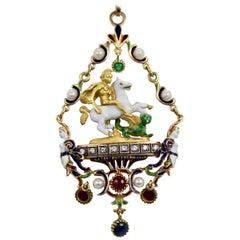 Saint George Killing Dragon 18 Karat Enamel Pendant