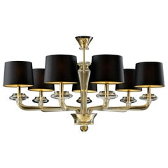 Saint Germain 7063 Chandelier in Black/Gold Lamp Shade, by Giorgia Brusemini
