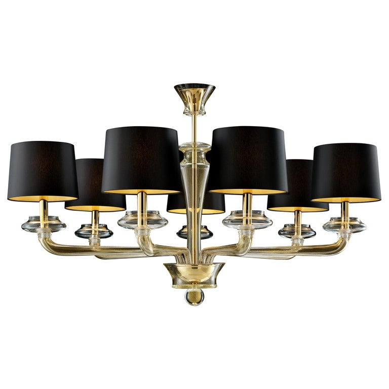 For Sale: Gold (Gold_OO) Saint Germain 7063 Chandelier in Black/Gold Lamp Shade, by Giorgia Brusemini