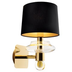Saint Germain 7066 Wall Sconce in Black/Gold Lamp Shade, by Giorgia Brusemini
