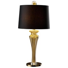 Saint Germain 7067 Table Lamp in Glass with Black Shade, by Giorgia Brusemini