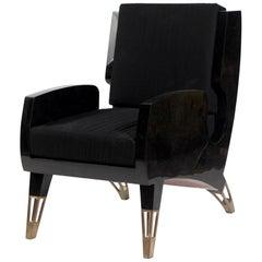 Saint Germain Armchair in Black Pen Shell & Bronze-Patina Brass by R&Y Augousti