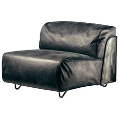 Saint-German Armchair in Black Aniline Leather and Antiqued Silver