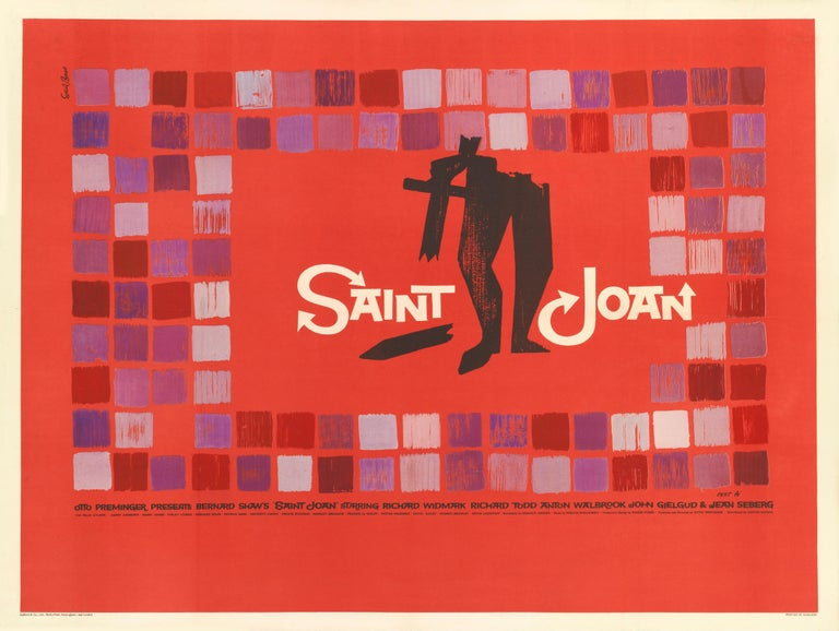Original British film poster. This film is an adaptation of the play of the same name by George Bernard Shaw. The screenplay was written by Graham Greene and directed by Otto Preminger. St. Joan of Arc was played by Jean Seberg, and was her film