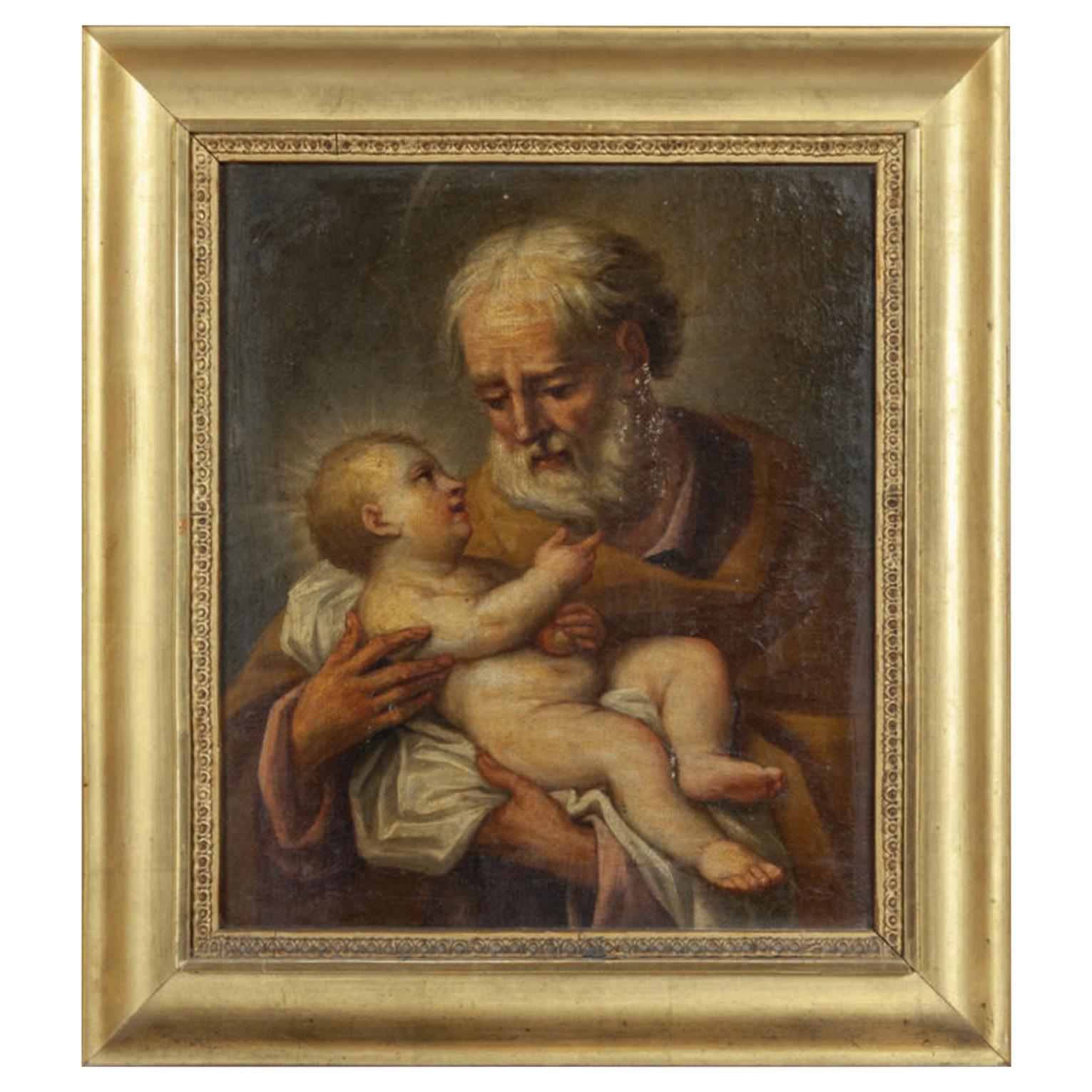 Saint Joseph and Child Jesus Italian School 18th Century