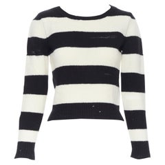 SAINT LAURENT 2015 black white striped distressed holey knit sweater top XS