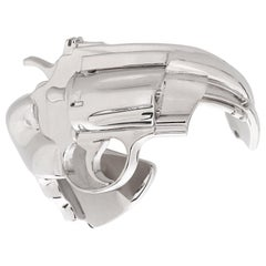 SAINT LAURENT A/W 2014 Silver Plated Revolver Gun Statement Cuff Bracelet