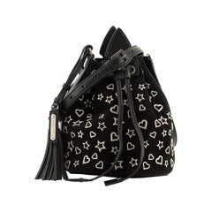 Saint Laurent Anja Bucket Bag Studded Suede Small