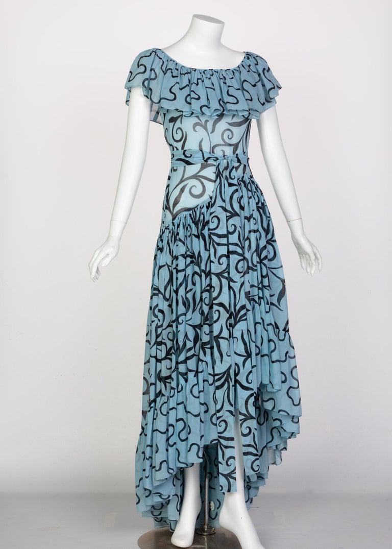 Saint Laurent Arabesque Print Blue Black Ruffle Collar Maxi Dress YSL, 1980s In Excellent Condition For Sale In Boca Raton, FL