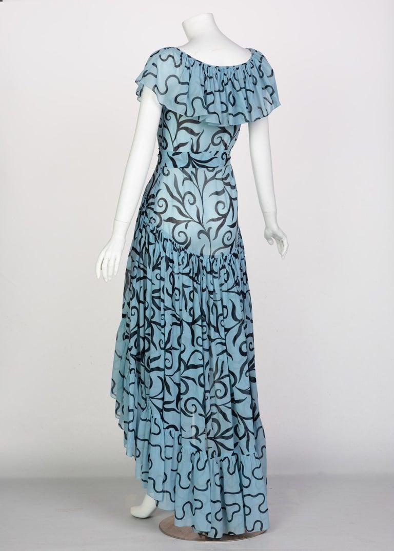 Women's Saint Laurent Arabesque Print Blue Black Ruffle Collar Maxi Dress YSL, 1980s For Sale