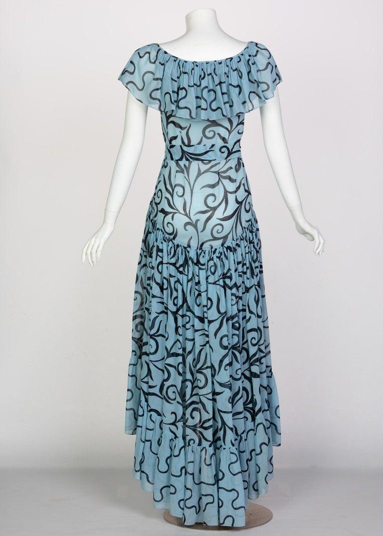 Saint Laurent Arabesque Print Blue Black Ruffle Collar Maxi Dress YSL, 1980s For Sale 1