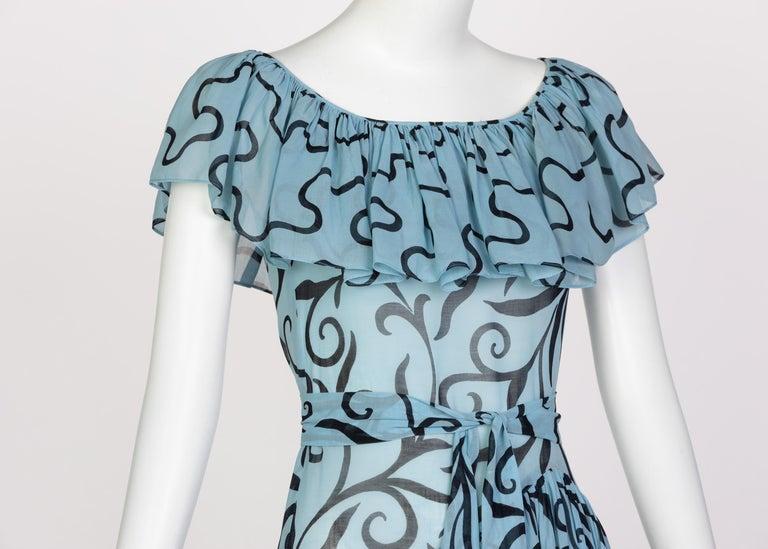 Saint Laurent Arabesque Print Blue Black Ruffle Collar Maxi Dress YSL, 1980s For Sale 3