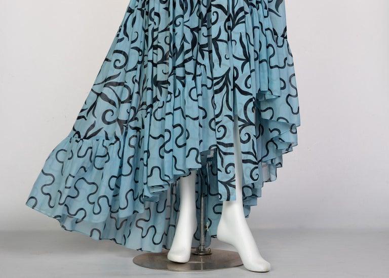 Saint Laurent Arabesque Print Blue Black Ruffle Collar Maxi Dress YSL, 1980s For Sale 4