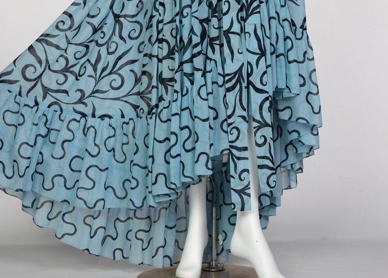 Saint Laurent Arabesque Print Blue Black Ruffle Collar Maxi Dress YSL, 1980s For Sale 5