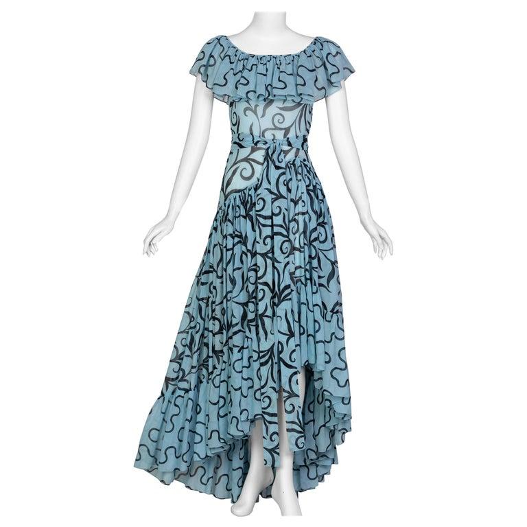Saint Laurent Arabesque Print Blue Black Ruffle Collar Maxi Dress YSL, 1980s For Sale