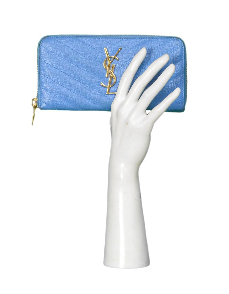 e78d5306 Saint Laurent Baby Blue Grain De Poudre Leather Chevron YSL Monogram Zip  Wallet