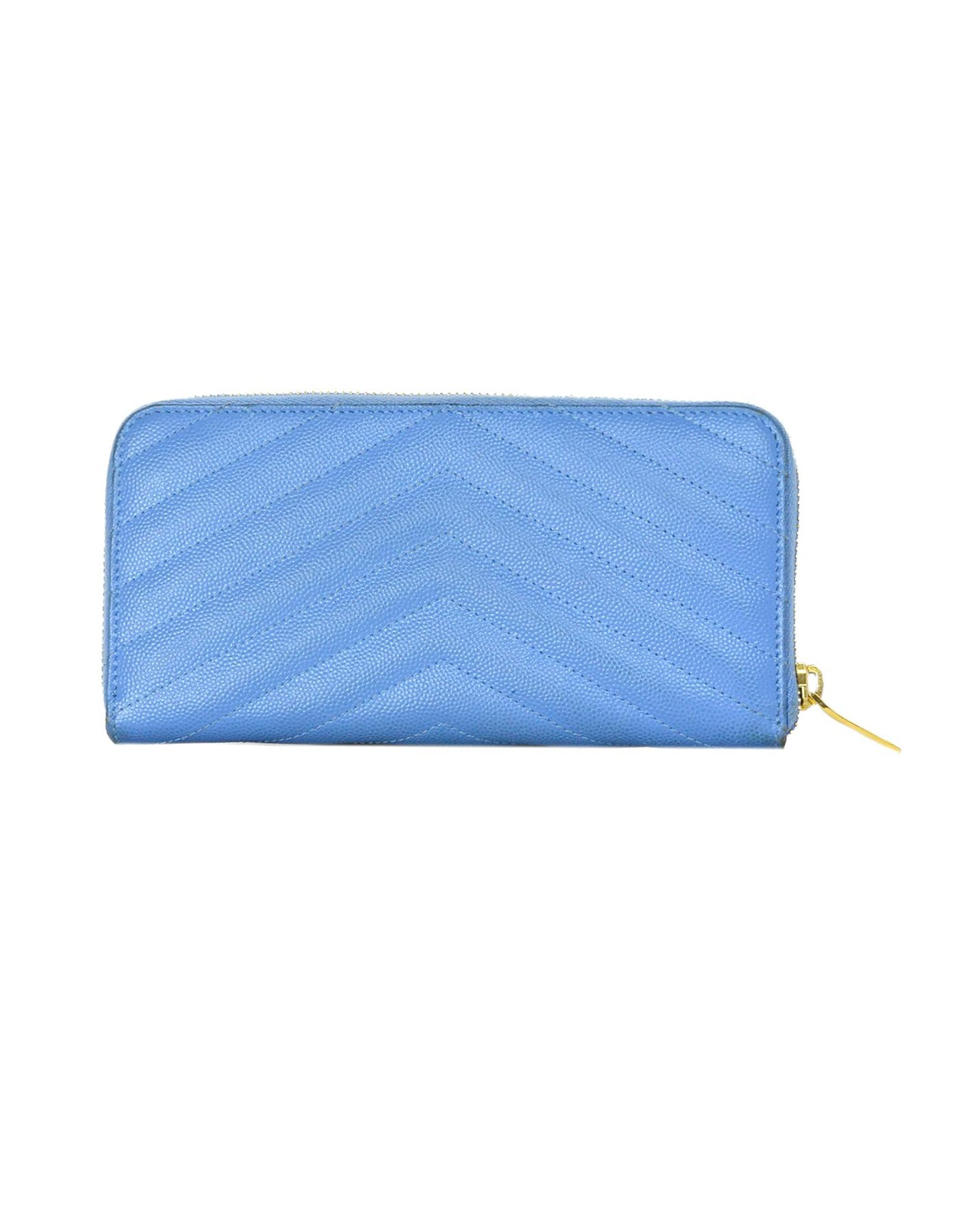 97e7b680 Saint Laurent Baby Blue Grain De Poudre Leather Chevron YSL Monogram Zip  Wallet
