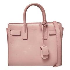 Saint Laurent Baby Pink Leather Nano Classic Sac De Jour Tote
