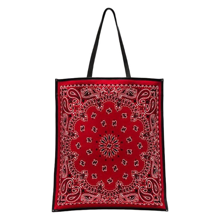Saint Laurent Bandana Red Flat Shopping Tote Bag