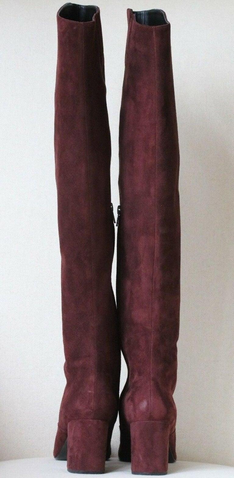 Black Saint Laurent BB 70 Over-the-Knee Suede Boots